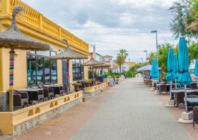 Seaside promenade at Colonia de Sant Pere, Mallorca, Spain